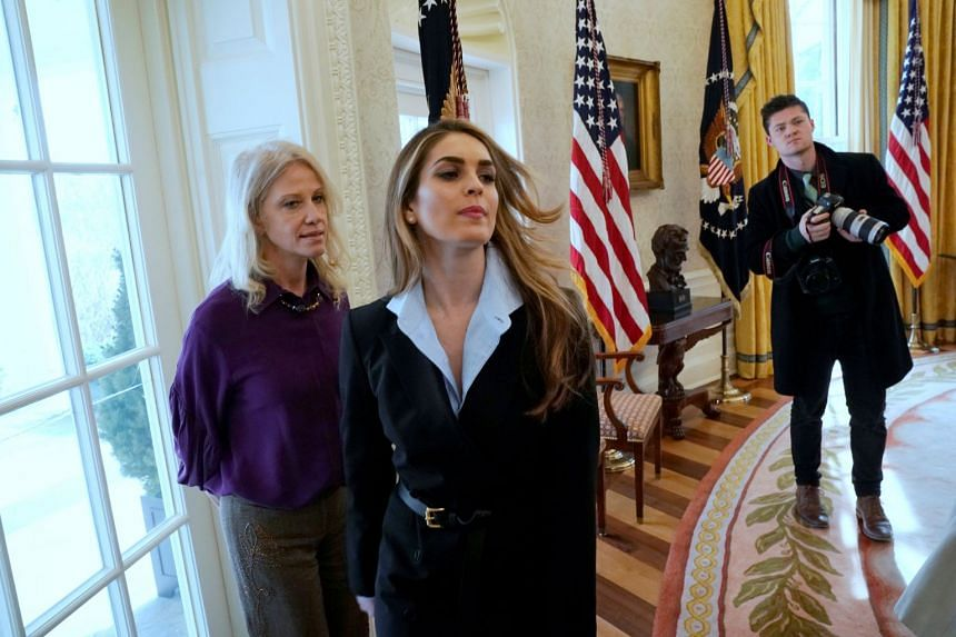 Hicks (centre) is a central figure in two White House controversies – the Russian investigation and the departure of a senior White House aide accused of physically abusing two ex-wives.