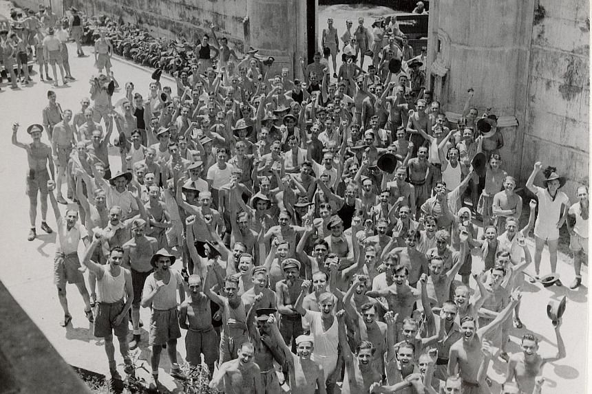 Allied prisoners of war leaving Changi Prison in 1945. The prison is included in Legal Legacies: The Storeys Of Singapore Law, which traces the development of Singapore's legal system through pictures and drawings of court buildings, police stations
