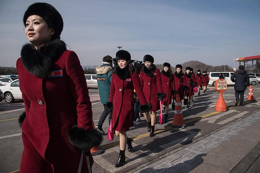 The 229 North Korean cheerleaders, selected based on their looks, backgrounds and loyalty to the ruling party, arrived in the South last Wednesday.