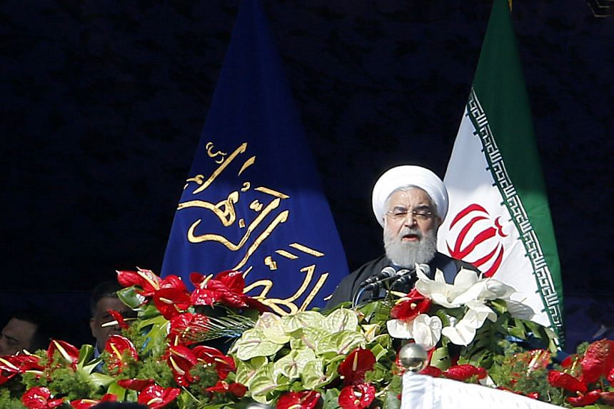 Iranian President Hassan Rouhani delivering a speech in Azadi Square during a ceremony to mark the 39th anniversary of the Islamic revolution, on Feb 11, 2018.
