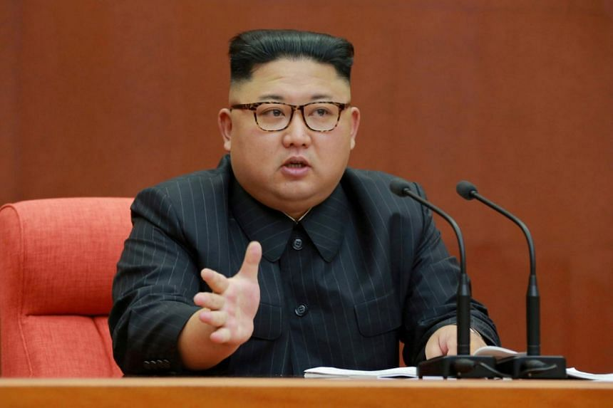 North Korean leader Kim Jong Un speaks during the Second Plenum of the 7th Central Committee of the Workers' Party of Korea at the Kumsusan Palace of the Sun.