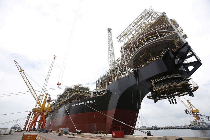 A vessel at Sembcorp Marine's Jurong Shipyard in 2016. SembMarine, along with Venture Manufacturing, Mapletree Commercial Trust, Keppel Reit and Mapletree Logistics, may see some speculative interest.