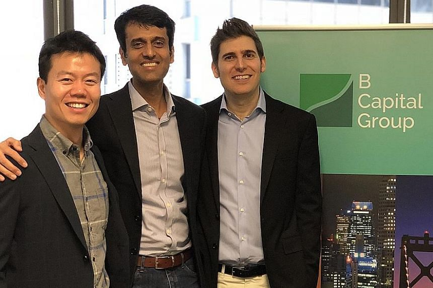"""B Capital partners (from far left) Gavin Teo, Kabir Narang and Eduardo Saverin. The fund is looking for entrepreneurial firms with a """"global-first"""" mindset."""