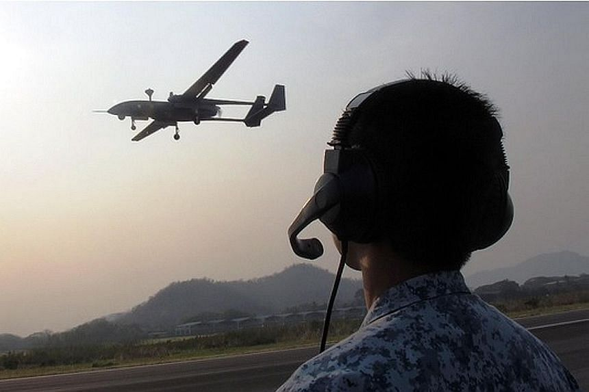 The Heron-1 unmanned aerial vehicle (UAV) in a training exercise in Thailand in 2016. The RSAF first used UAVs in the late 1970s, and upgraded its platforms with the Heron 1 turning fully operational last year.