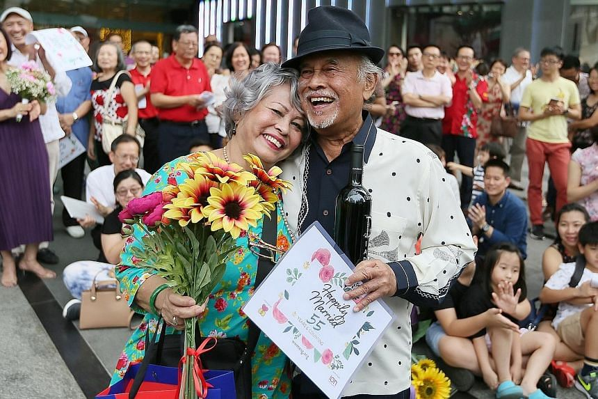 Singaporeans Marlene De Silva, 76, and Penny D'Rozario, 80, received a prize for being the longest married couple - at 55 years - at a World Marriage Day event yesterday outside Ion Orchard. Feb 11 has been designated World Marriage Day by the Worldw