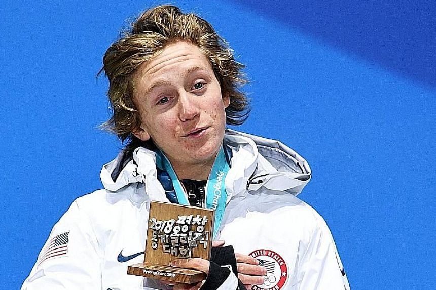 Redmond Gerard in the final of the men's snowboard slopestyle at Phoenix Park in Pyeongchang. He is the second youngest individual Winter Olympic champion.