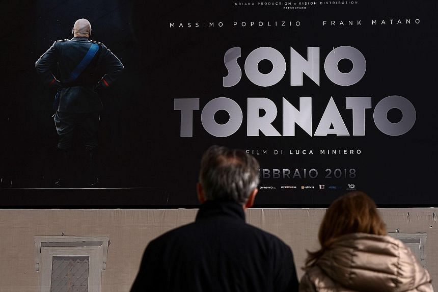 In the movie Sono Tornato, Mussolini explores modern-day Italy and gets a chance on a TV show to lecture the people.