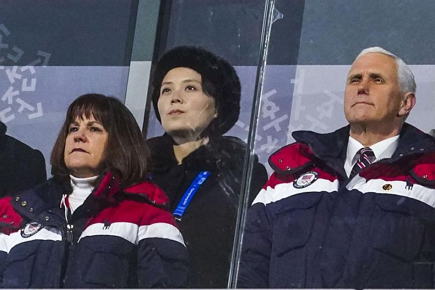 US Vice-President Mike Pence (right) and his wife Karen (centre) during the opening ceremony of the PyeongChang 2018 Olympic Games. Seated behind them is Kim Yo Jong, sister of North Korean leader Kim Jong Un.