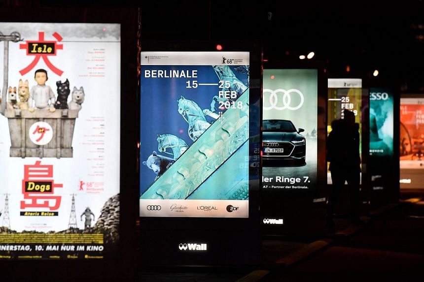 Posters displaying advertisements for the upcoming Berlin Film Festival in Potsdamer platz in Berlin, on Feb 8, 2018.