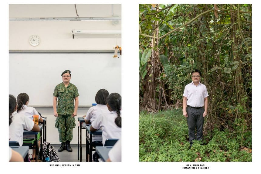 Mr Benjamin Tan, a humanities teacher, posing in his SAF uniform in his classroom, as well as in his normal work attire in the forest.