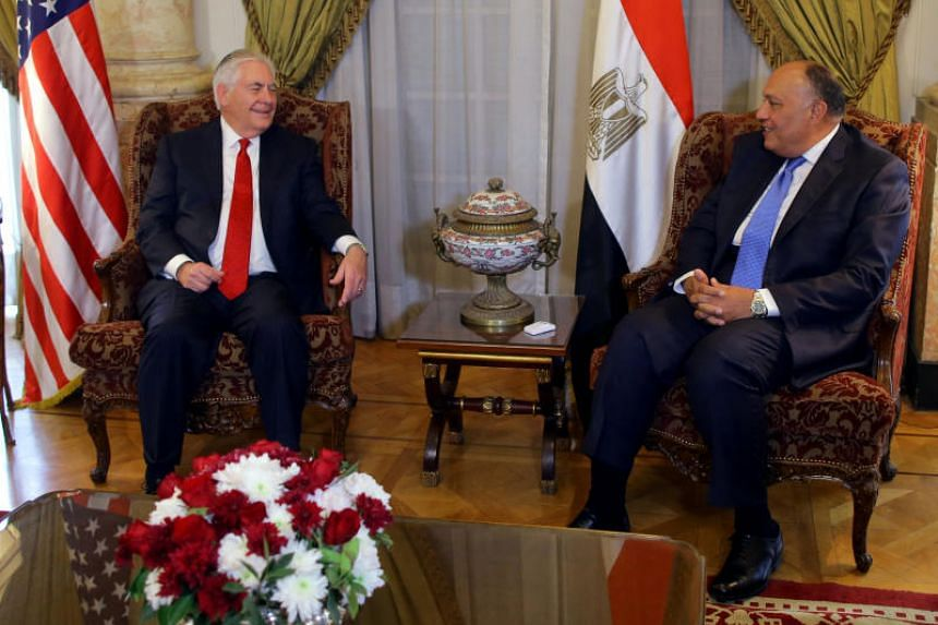 US Secretary of State Rex Tillerson and his Egyptian counterpart Sameh Shoukry met behind closed doors before addressing reporters on Feb 12, 2018.