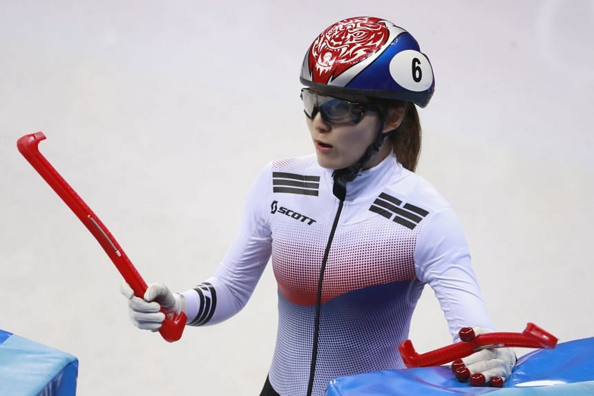 Choi Min-jeong of Korea reacts after the Women's Short Track Speed Skating 500m final.