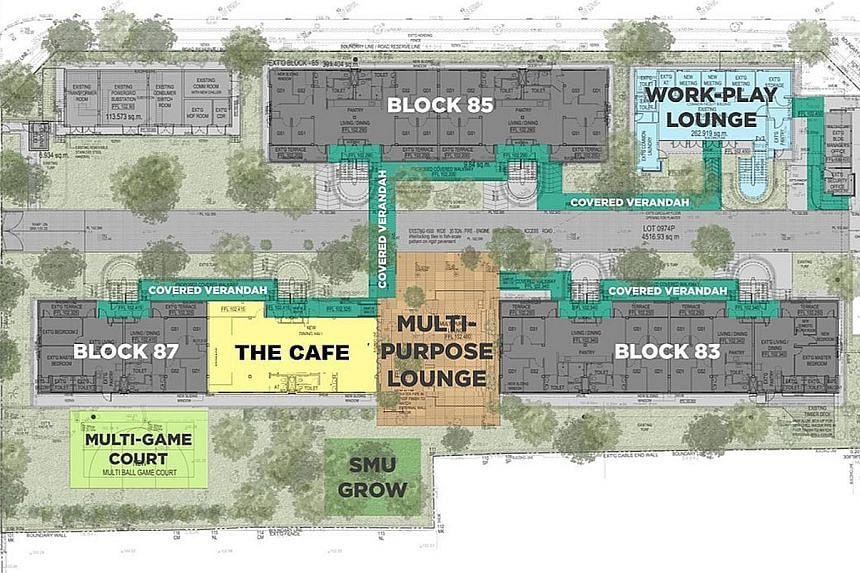 An artist's impression of the multi-purpose lounge (above) and four-storey apartment blocks (below), part of the Prinsep Street Residences (left).