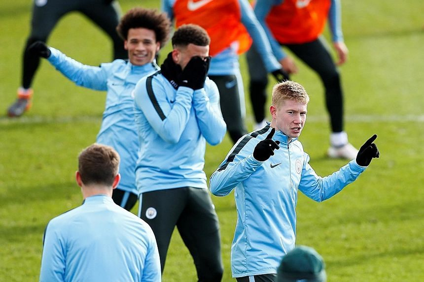 City's Kevin de Bruyne and team-mates enjoying themselves during training. He is more concerned with winning team honours than individual ones, despite being favourite for the PFA Player of the Year award.