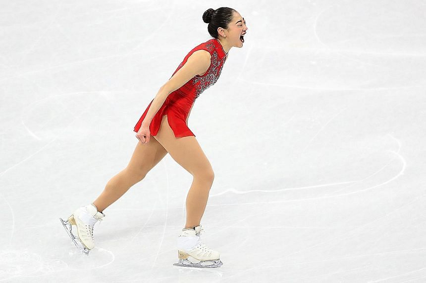 Mirai Nagasu roaring with pride after her stellar routine in the team competition that began with a scintillating triple axel jump. Her first Olympics were in Vancouver in 2010 but she was left off the team four years ago.