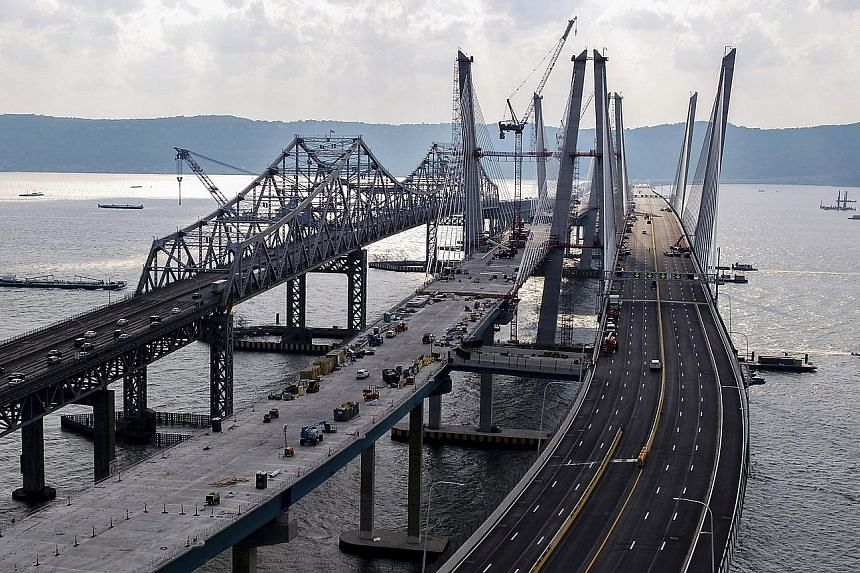 The Tappan Zee Bridge in Tarrytown, New York. Almost 40 per cent of the more than 600,000 bridges around the US are at least 50 years old, and 9.1 per cent of them were rated structurally deficient in 2016.
