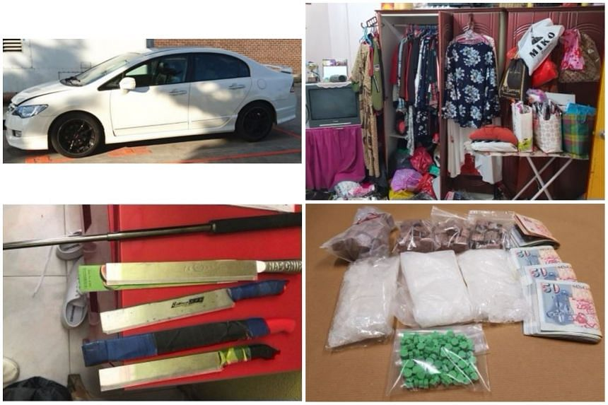 (Clockwise from top left) The car where drugs were recovered, the cupboard where a woman suspect was found hiding during the operation, drugs and cash seized during the operation and seized weapons.