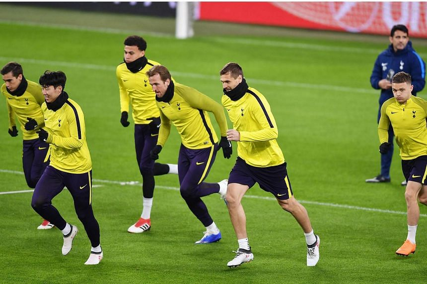 Totthenham's players during a training session at the Allianz Stadium in Turin, Italy, on Feb 12, 2018, on the eve of the Champions League match against Juventus.