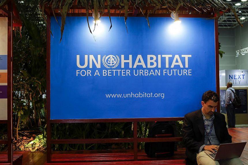 A 'UN-Habitat for a better urban future' poster at the 9th World Urban Forum in Kuala Lumpur, Malaysia, on Feb 7, 2018.