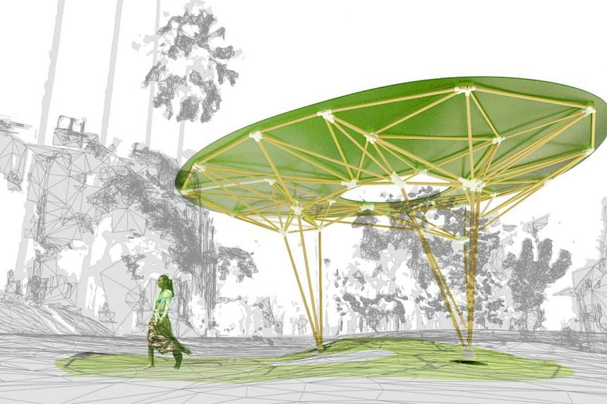 A rendering of Sombra Verde, an urban pavilion that will provide shade at the Duxton Plain Park at the Urban Design Festival in Tanjong Pagar.