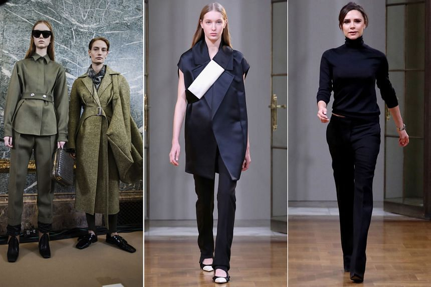 The autumn/winter 2018 collection (left and centre) of Victoria Beckham (right), which was unveiled at New York Fashion Week on Sunday.