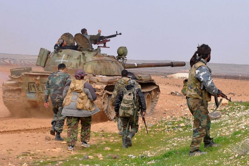 Syrian government forces conducting an offensive in the countryside of Idlib, on Feb 9, 2018.