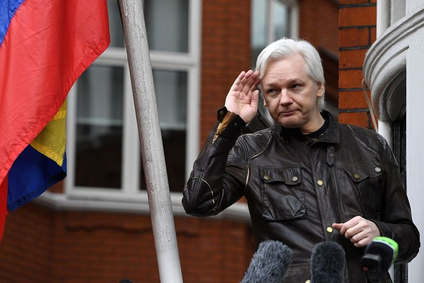 Wikileaks founder Julian Assange speaks to reporters on the balcony of the Ecuadorian Embassy in London, Britain, on May 19, 2017.