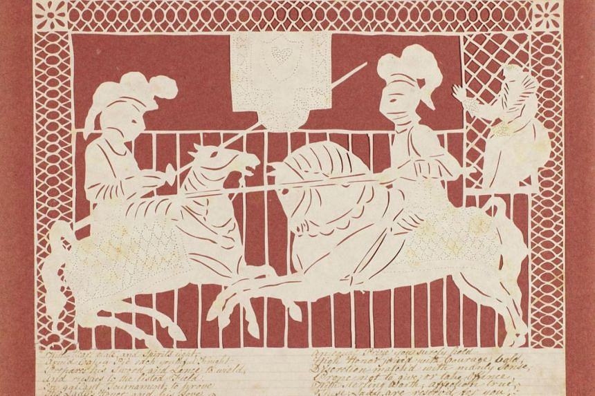 A British cut-paper Valentine card, made by Elizabeth Cobbold in around 1810. The card is part of a collection of about 12,000 assembled by Nancy Rosin.