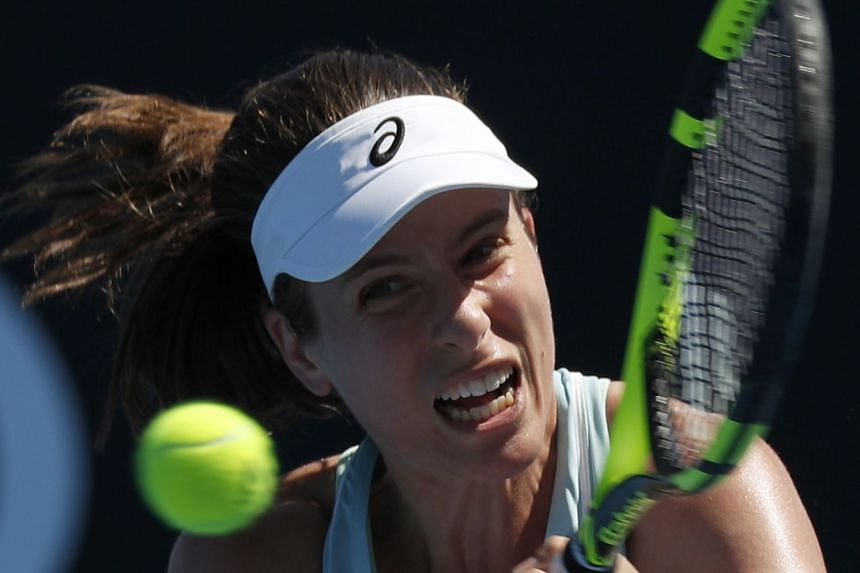 Konta (above, in a file photo) was broken in the 11th game of the first set but dragged the contest into a tiebreak.