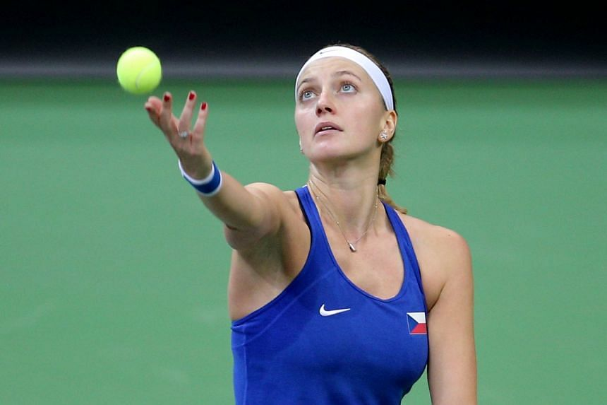Kvitova (above) – continuing her return to top-class tennis following a horrific knife attack just over a year ago – won 6-0, 6-3.