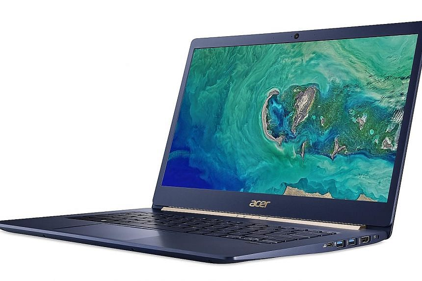 The Acer Swift 5 ultrabook clocked about 6 hours and 20 minutes in The Straits Times' video-loop battery test.
