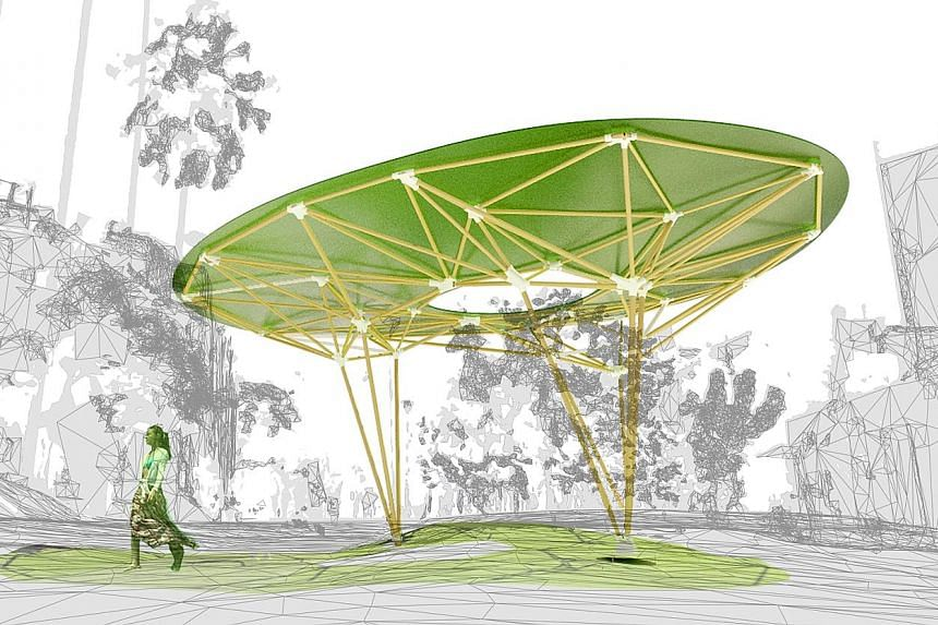 """A rendering of Sombra Verde, a pavilion that will provide shade at Duxton Plain Park at the Urban Design Festival in Tanjong Pagar. Play Book, a """"pretend play"""" environment inspired by the pop-up book and designed for children aged three and above, wa"""