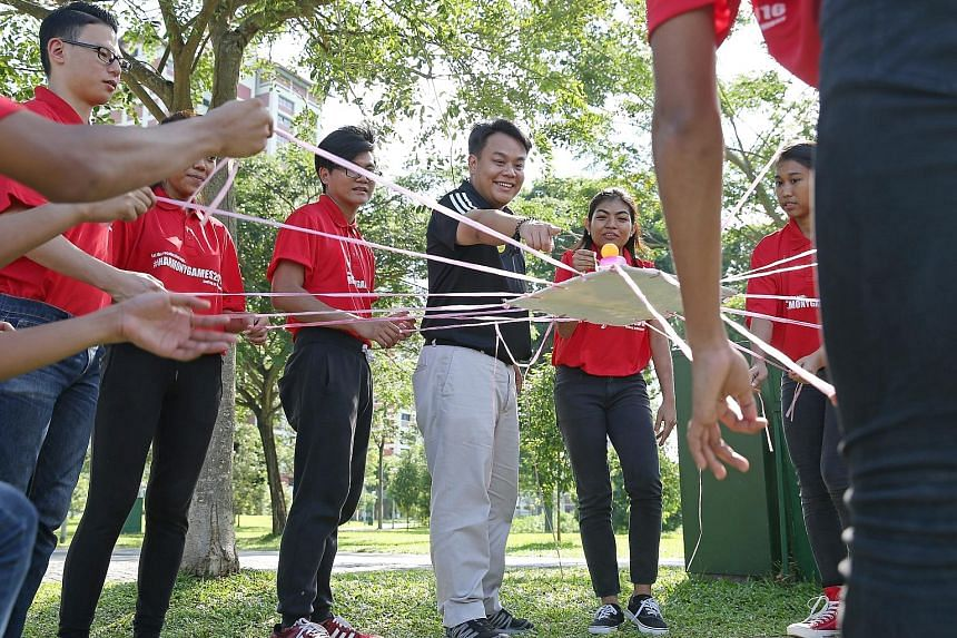 Mr Delane Lim taking part in team-building activities with trainers of the HappYouth programme. Under this programme conducted by a charity he founded called the Character and Leadership Academy, students are trained to spot signs of depression in th