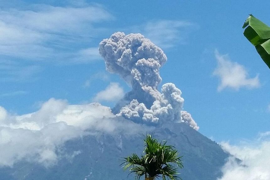The Mount Agung volcano in Bali erupted yesterday at about 11.50am local time, spewing ash as high as 1.5km above the crater. The eruption, which lasted about 21/2 minutes, did not affect any flights to the Indonesian island or cause any damage. The