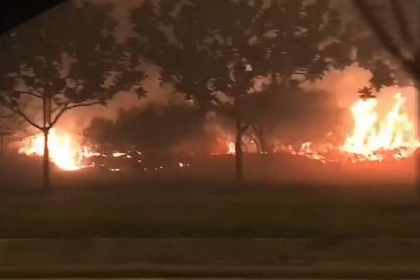 """Singapore Civil Defence Force officers found """"intermittent pockets of vegetation"""" on fire in an area measuring about four football fields in Meranti Avenue."""