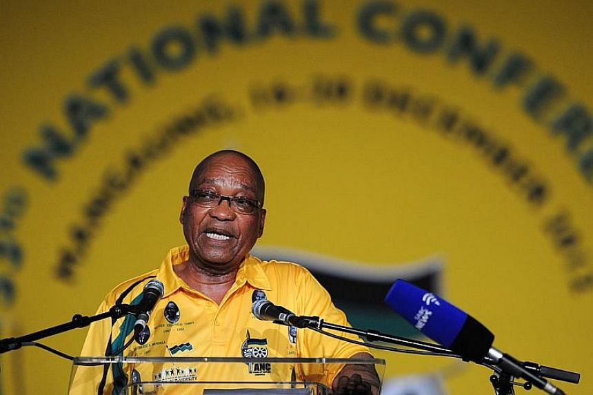 South African President Jacob Zuma delivering a speech during the opening ceremony of the 53rd National Conference of the African National Congress in Bloemfontein on Dec 16, 2012.