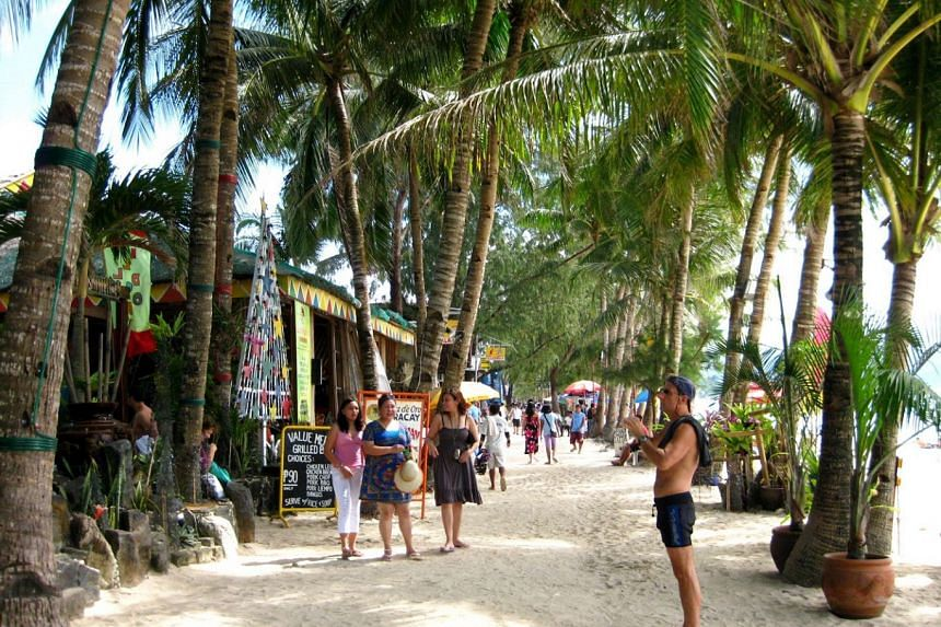 A file photo of beachside restaurants in Boracay, Philippines, in January 2010. The Department of Environment and Natural Resources in Western Visayas assured tourists that water quality in Boracay was within acceptable standards.