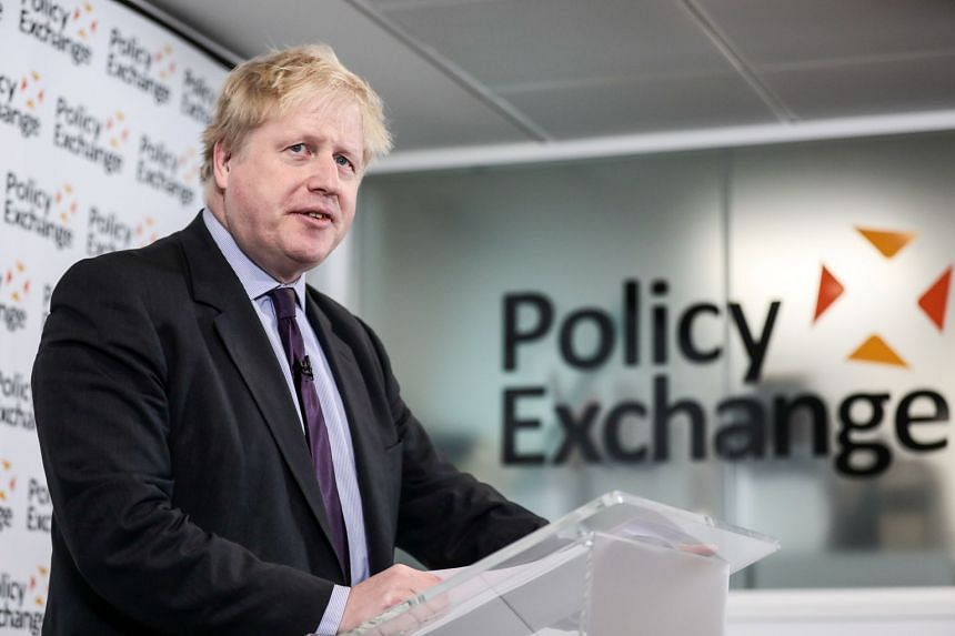 "British Foreign Secretary Boris Johnson delivering a ""Road to Brexit"" speech in London on Feb 14, 2018."