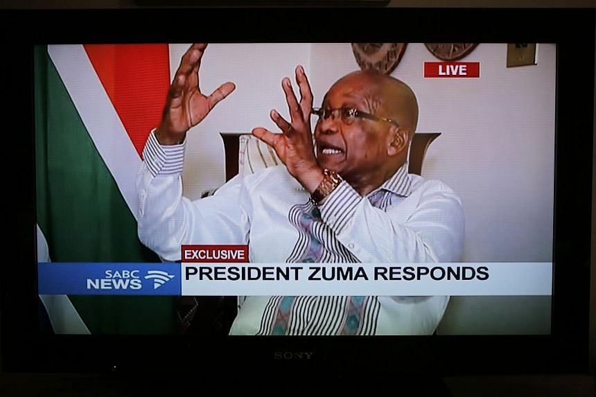 South African President Jacob Zuma speaking on a news programme in response to the political crisis surrounding him, on Feb 14, 2018.