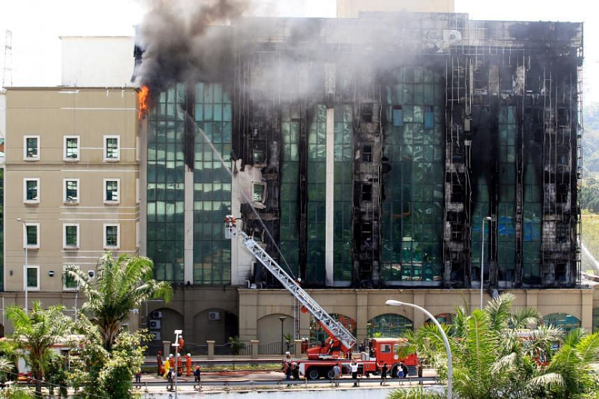 A blaze at Malaysia's pension fund building in Selangor on Feb 13, 2018.