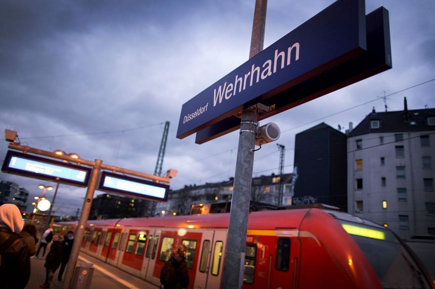 A commuter train on a platform of the Duesseldorf Wehrhahn station in western Germany, on Jan 24, 2018.