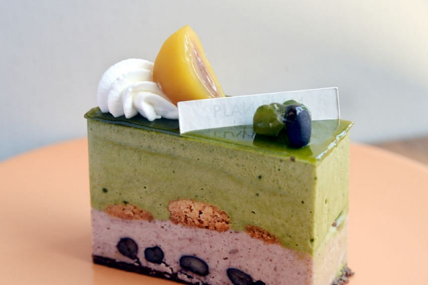 Plan Plan's matcha adzuki cake balances intensely fragrant and bitter pulverised green tea mousse with an incredibly light and nutty red bean mousse.