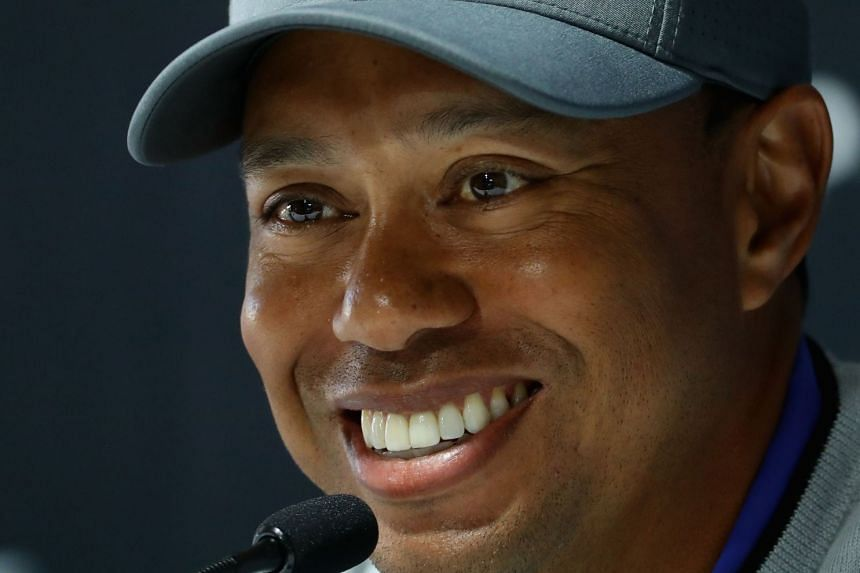 Woods addresses a press conference ahead of the Genesis Open, Feb 13, 2018.