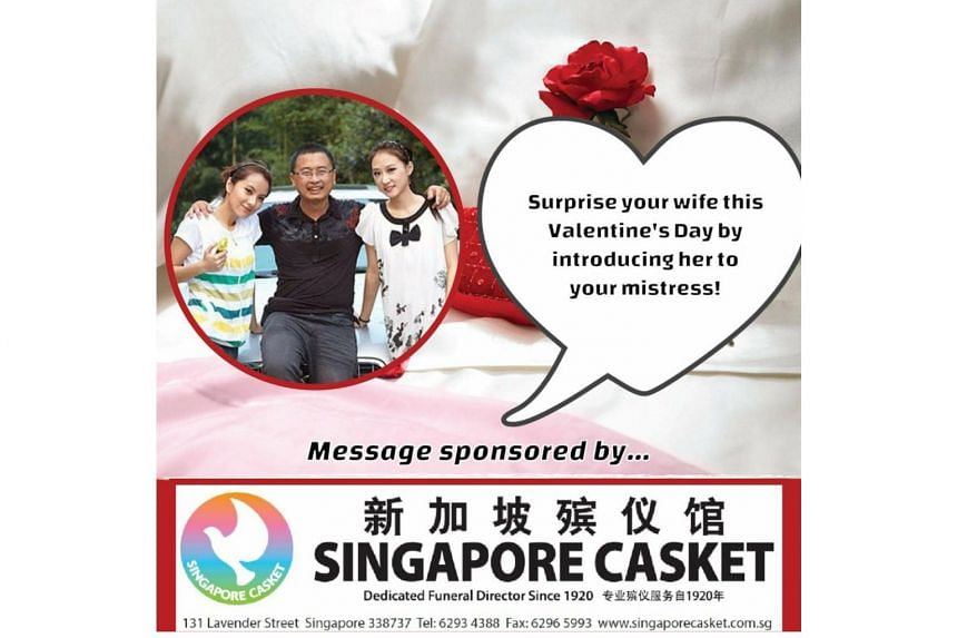 "A photo of a supposed ad, showing a man flanked by two women, asking men to surprise their wives by introducing their mistresses says the message is ""sponsored by Singapore Casket""."