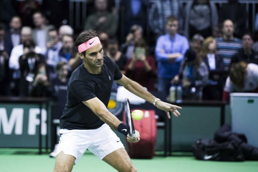 Federer during training on the first day of the Rotterdam Open.