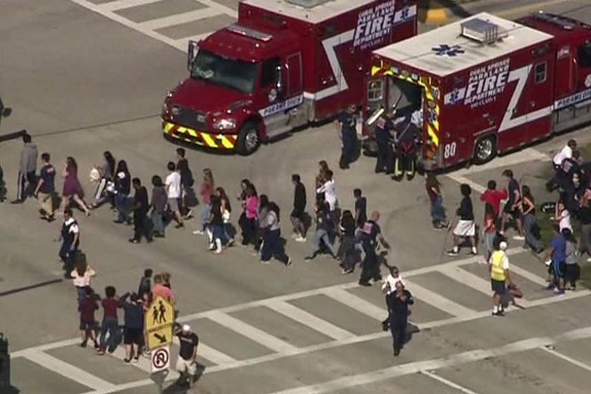 Students are evacuated during the shooting incident.