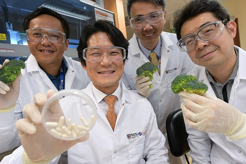 The research team from NUS' Synthetic Biology for Clinical and Technological Innovation - (from left) research fellow Ho Chun Loong, and associate professors Matthew Chang, Lee Yung Seng and Yew Wen Shan - believe the treatment will be particularly h