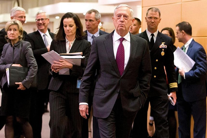 US Secretary of Defence James Mattis arriving for a meeting at the Nato headquarters in Brussels yesterday.