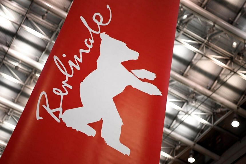 The logo of the Berlin Film Festival seen on a banner in a shopping mall ahead of the event.