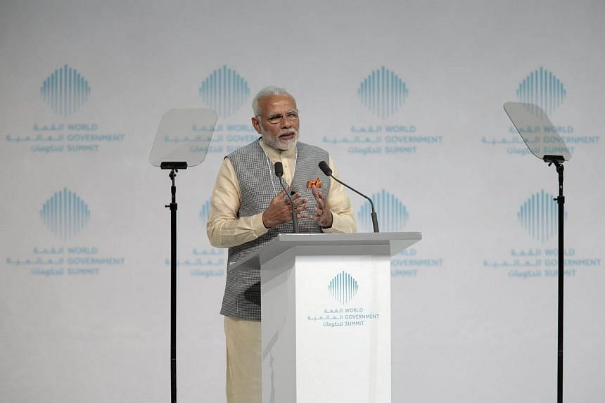 India's Prime Minister Narendra Modi speaks during the World Government Summit in Dubai, on Feb 11, 2018.